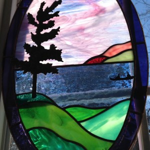 Stained Glass Tree & Canoe
