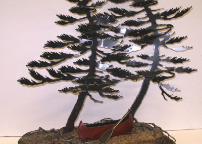 Two Trees with Red Canoe
