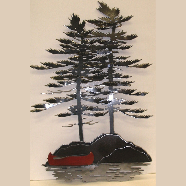 Wall Trees Red Canoe on pewter metal