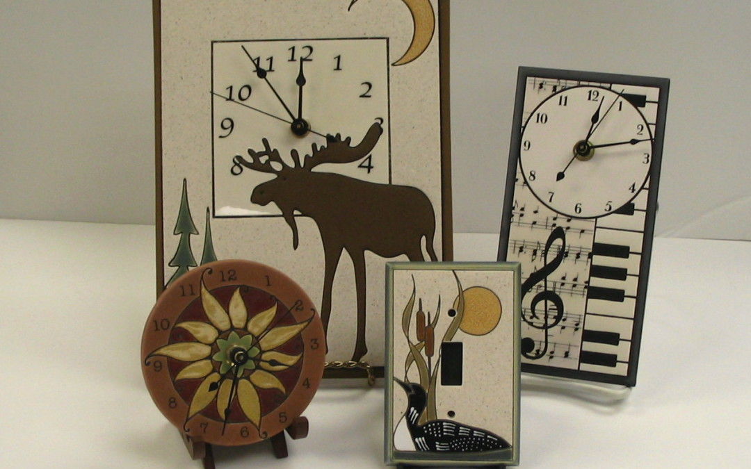 Handcrafted Clocks and Switch plates from All Fired Up in Milton, Ontario.