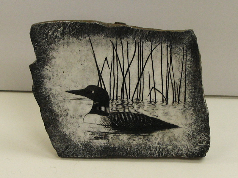 Loon Painting on Rock