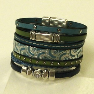 Leather Bracelet - Blue