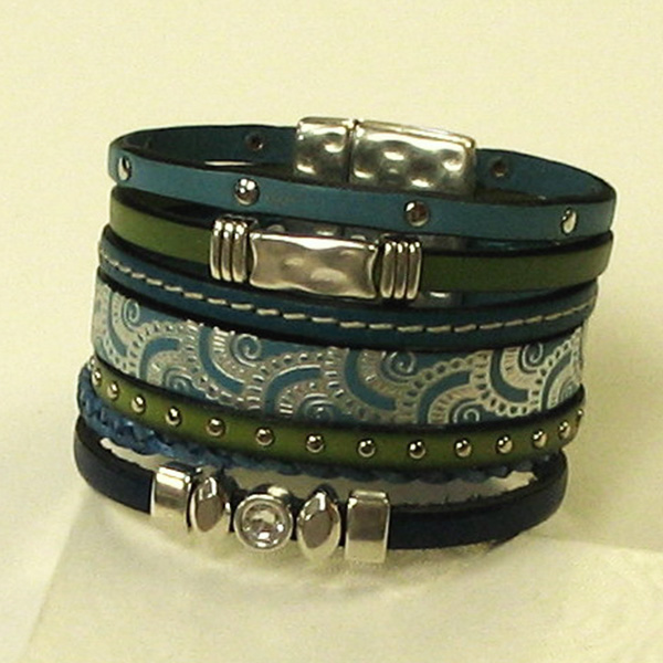 Leather Bracelet – Blue