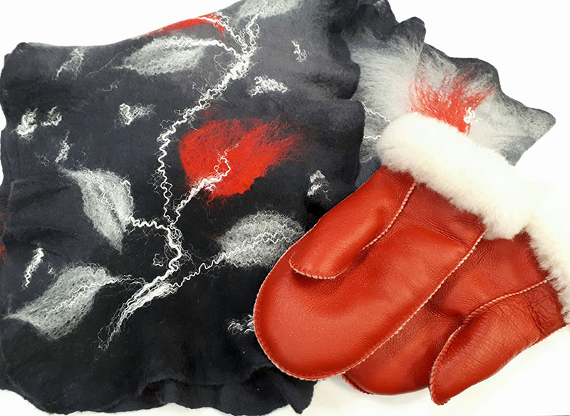 Felted Scarf & Mitts