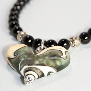 Worn Beadies Heart Pendants - Black & White