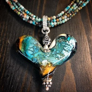 Worn Beadies Heart Pendants - Turquoise & Amber