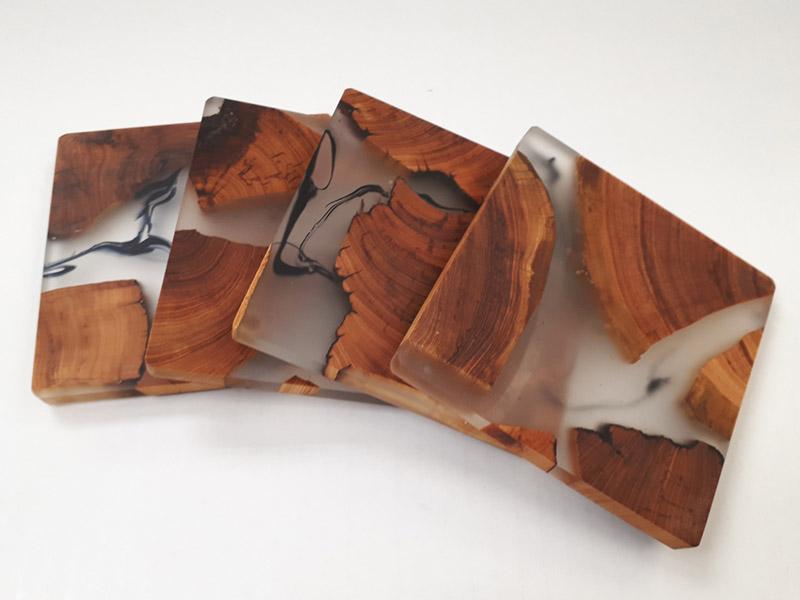 Cedar and resin coasters